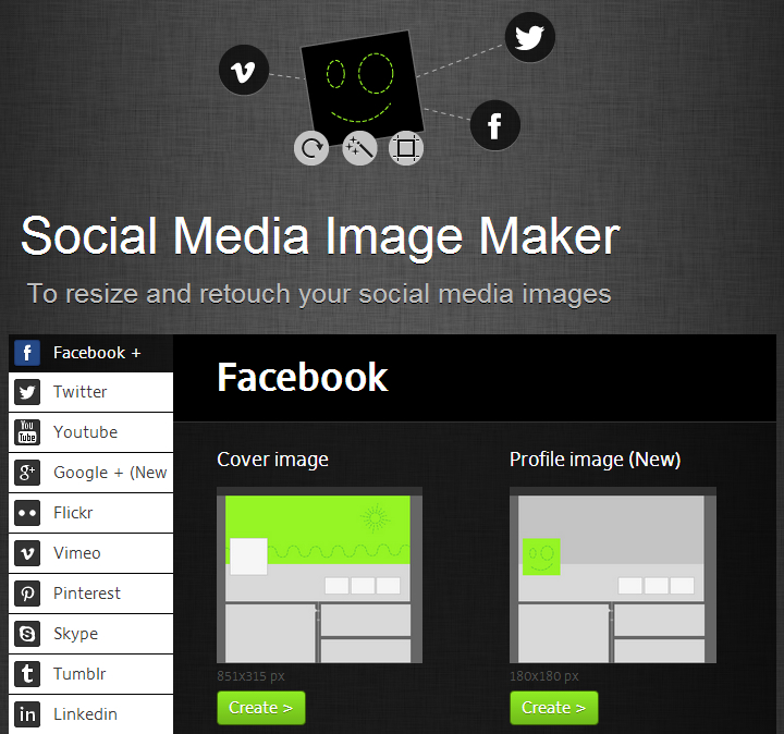 Social Media Image Maker - Homepage