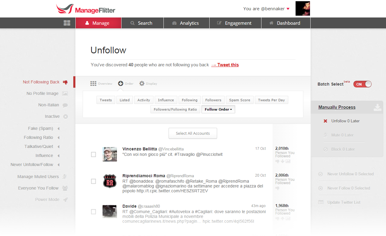 ManageFlitter - Unfollow