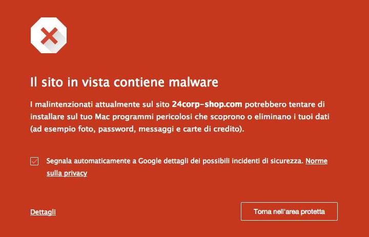 Il sito in vista contiene malware - Mac