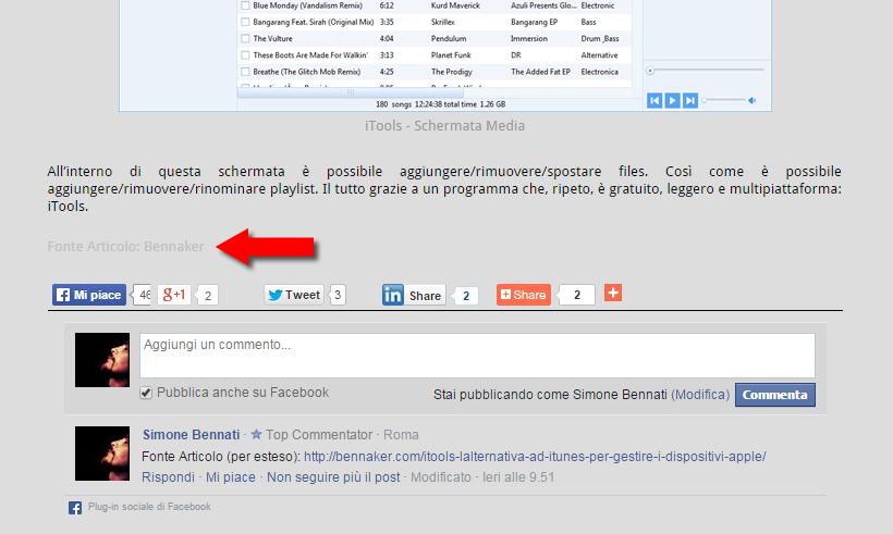 Screenshot del post