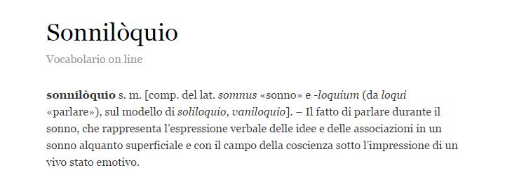 Sonniloquio - Definizione - Vocabolario Treccani