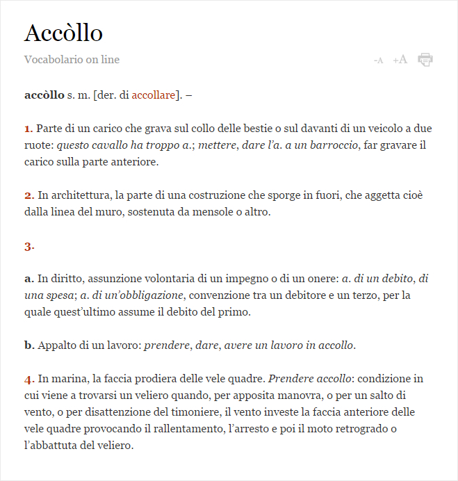 Accollo - Vocabolario Treccani