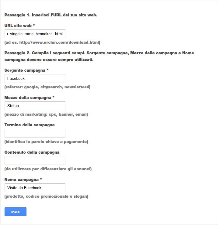 Google Analytics - Strumento di creazione URL