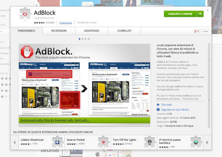 AdBlock - Pagina su Chrome Web Store