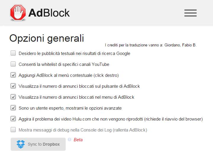 AdBlock - Pannello di opzioni