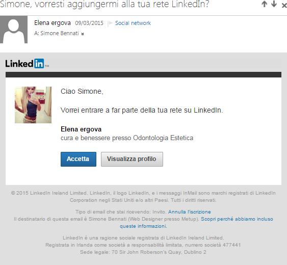 L'invito di Elena Ergova a connetterci su LinkedIn