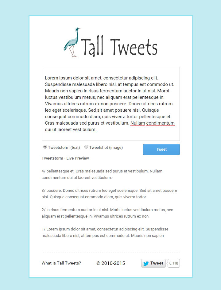 Tall Tweets - Homepage