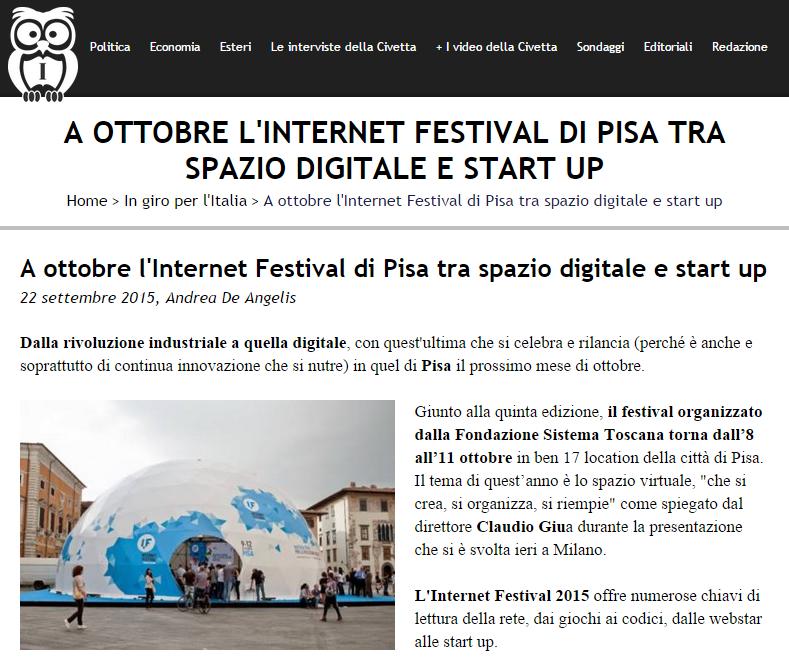 Notizia - Internet Festival di Pisa