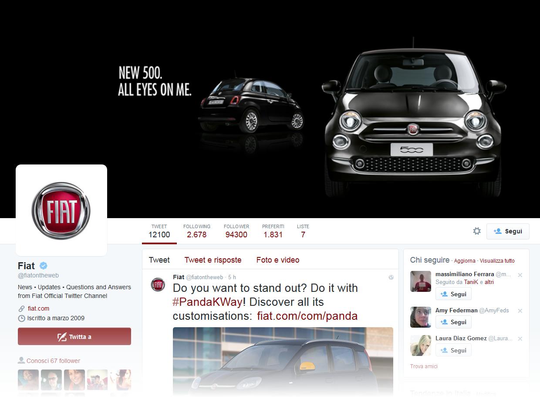 Profilo Twitter Fiat