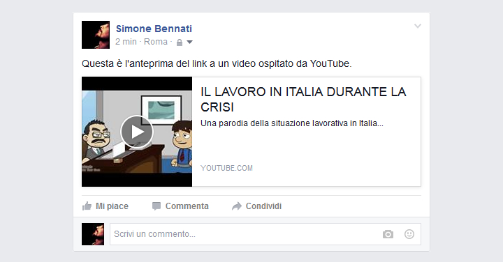 Facebook - Anteprima di un link a un video ospitato da YouTube