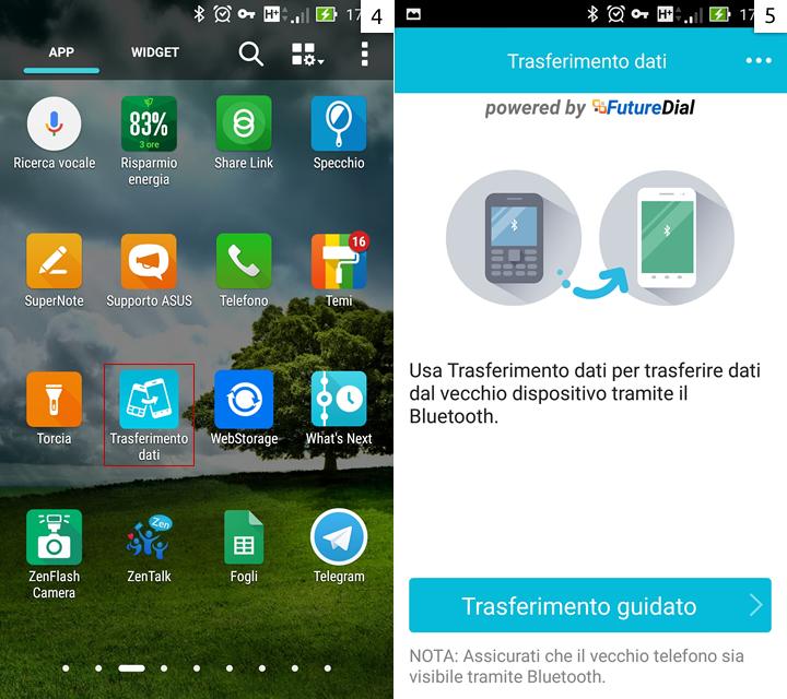 La app Trasferimento Dati