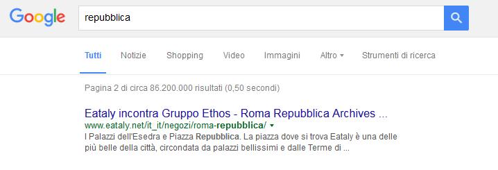 Come appare lo snippet di Repubblica nella SERP di Google