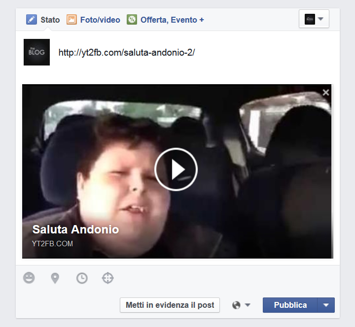 Facebook - Anteprima di un video ospitato da Youtube tramite Y2t2Fb