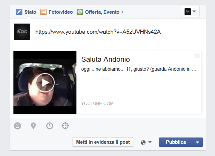 Facebook - Anteprima di un video ospitato da Youtube