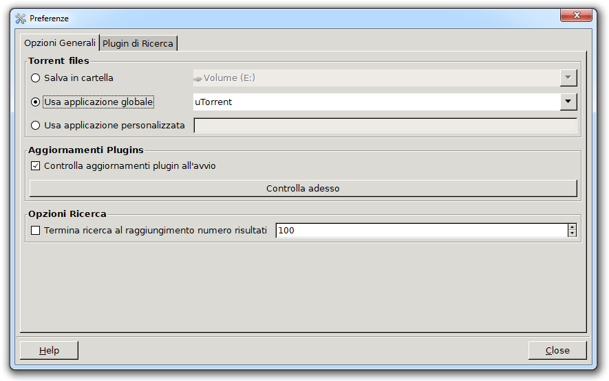 Torrent Search - Opzioni Generali