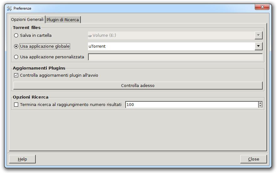 Torrent Search - Opzioni Generali