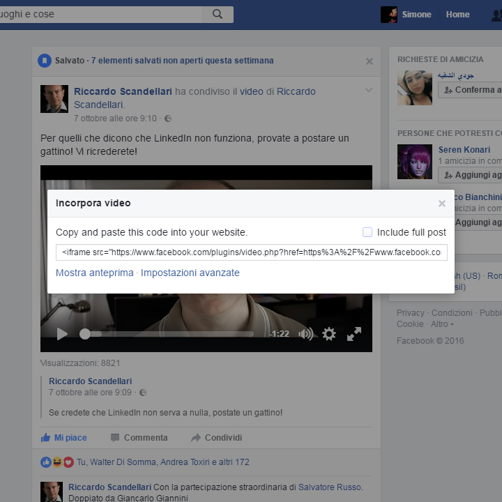 Facebook - Incorpora Video