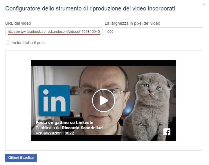 Facebook - URL del video