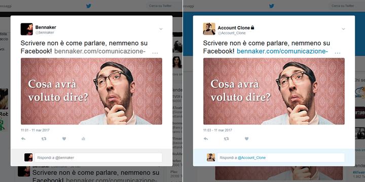 Twitter - Tweet originale e tweet clonato