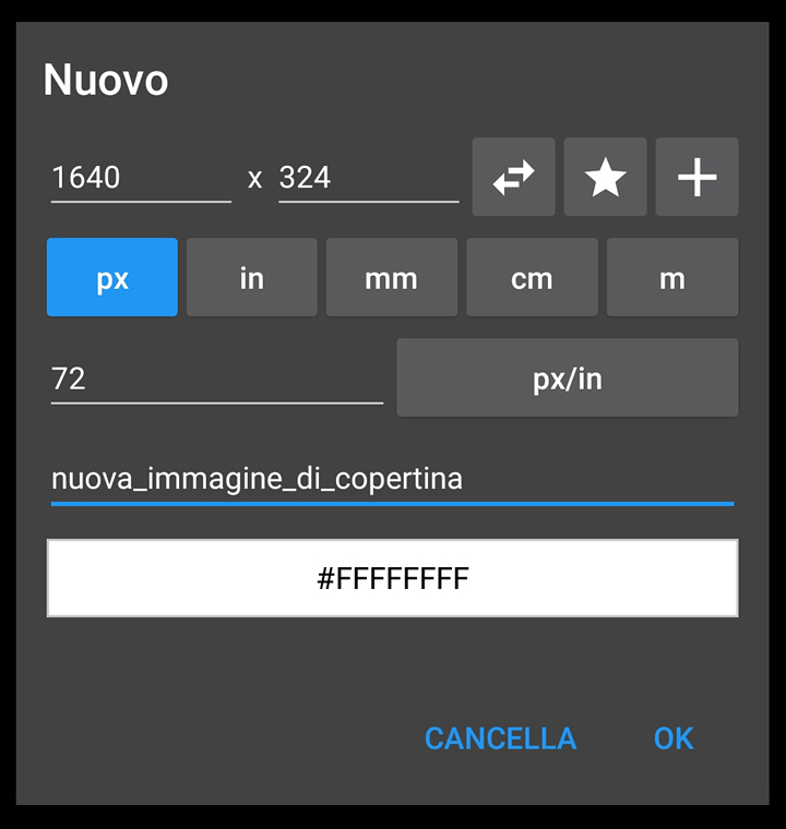 Photo Editor - Nuovo file