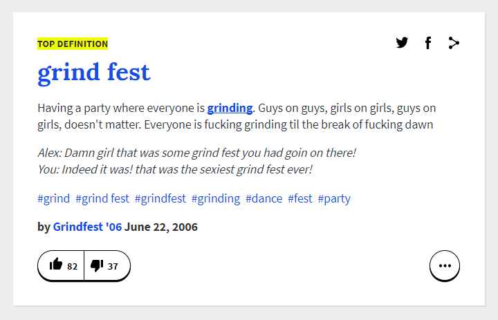 Urban Dictinary - Grind Fest