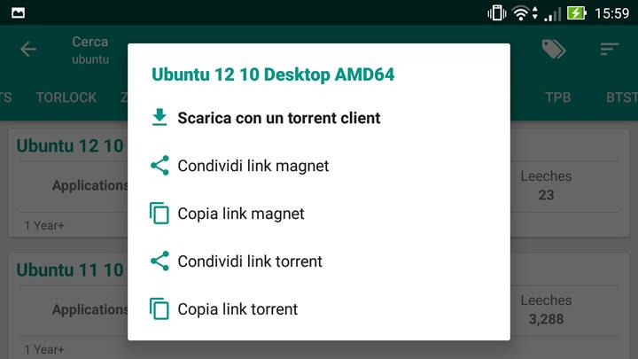 Torrent Search Engine - Opzioni di download