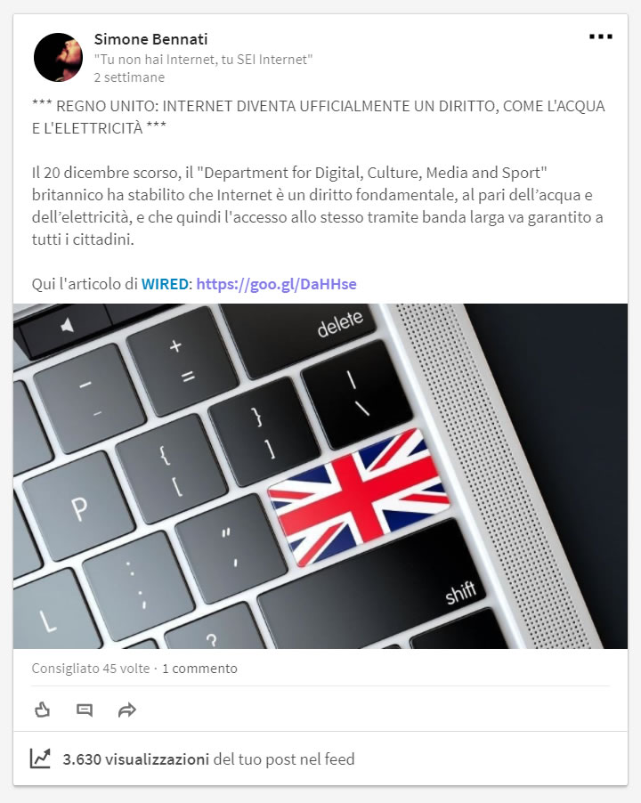 LinkedIn - Notizia
