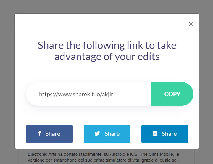 ShareKit - Copy URL
